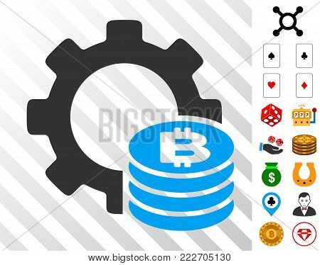 Bitcoin Industry Gear pictograph with bonus casino icons. Vector illustration style is flat iconic symbols. Designed for casino gui.