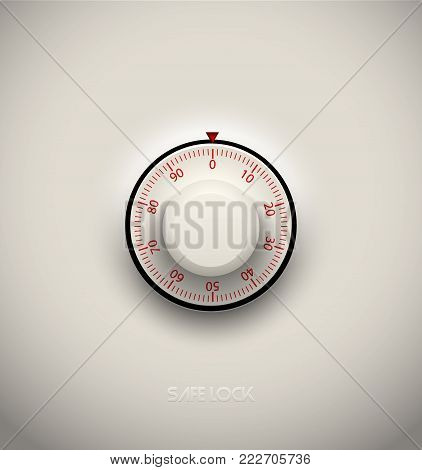Realistic combination safe lock plastic element on white background. Red round scale. Vector icon or design element.