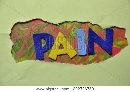 word pain on an   abstract colored background