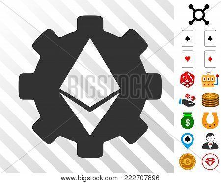 Ethereum Cog Wheel pictograph with bonus gamble symbols. Vector illustration style is flat iconic symbols. Designed for gamble gui.