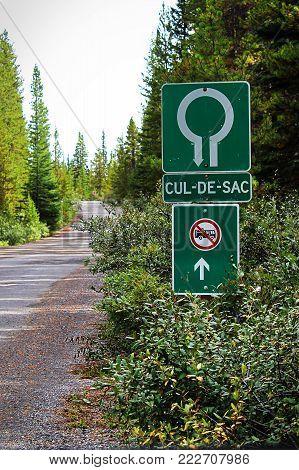A Cul-De-Sac and No RV entry sign.