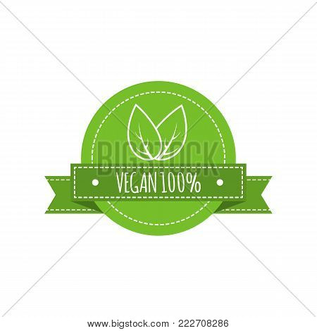 Bio food logo. Vegan vector badge. Vegan food sign with leaves. Organic design. Vector illustration.