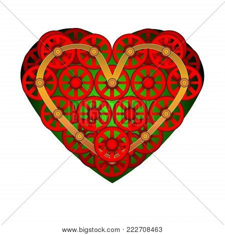 Heart icon. A symbol of love. Valentine s day with the sign of the Little wheels. Flat style for graphic and web design, logo. Vector. Decoration - greeting cards