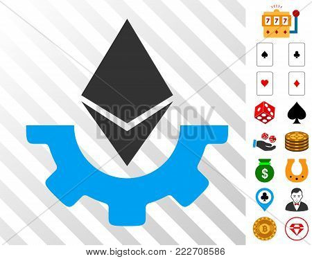 Ethereum Industry Gear icon with bonus gambling graphic icons. Vector illustration style is flat iconic symbols. Designed for casino websites.