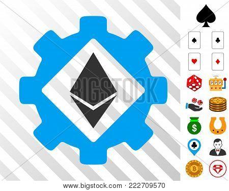 Ethereum Options Gear icon with bonus gamble design elements. Vector illustration style is flat iconic symbols. Designed for casino gui.