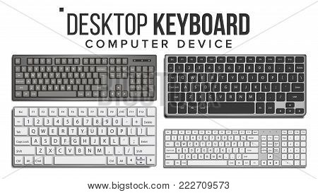 Desktop Keyboard Vector. 3D Realistic Classic Computer Keyboard Mockup. Isolated On White Illustration