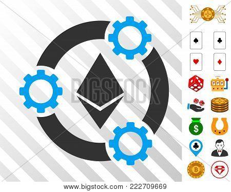Ethereum Pool Collaboration icon with bonus gambling design elements. Vector illustration style is flat iconic symbols. Designed for gamble ui.