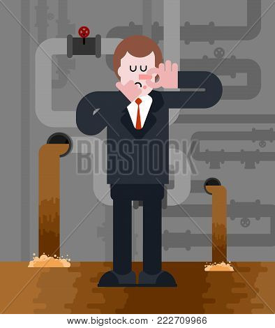 Man in sewer. Stink. Bad smell. Businessman Close nose. Guy and Household Wastewater. Vector illustration