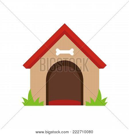 Dog house isolated on white background. Vector stock.