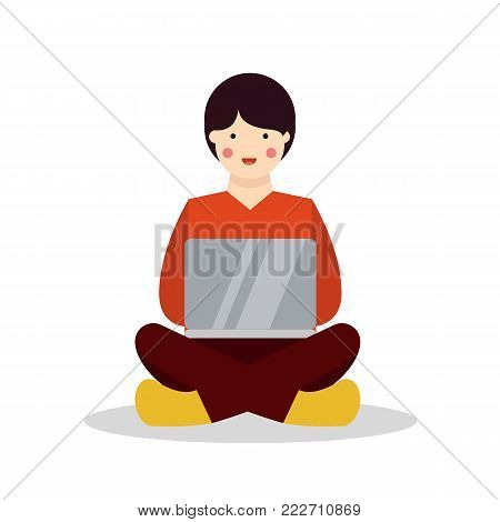 Character sitting and working with laptop. Vector stock.