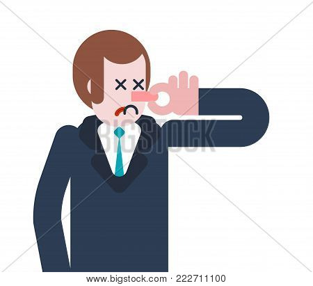 Stink Man Close nose. Guy and Bad smell. Vector illustration