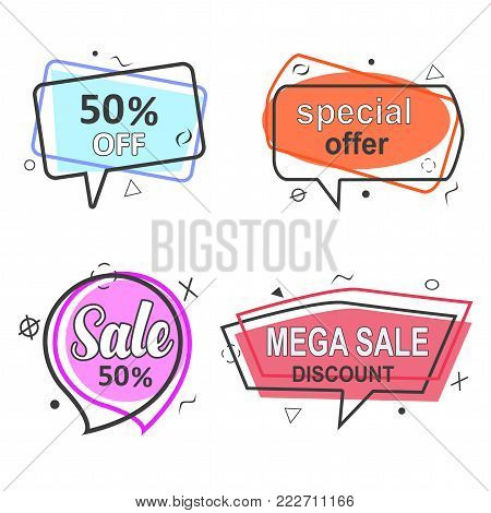 Promo banner geometric vector bubbles set. Special offer sale red tag isolated vector trendy flat style. Discount offer price label, symbol for advertising campaign in retail, sale promo marketing.