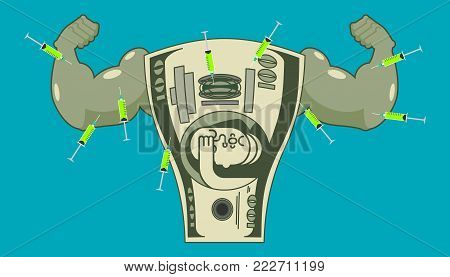 Doping for Dollar. Strong money and steroids. Syringe with anabolic. Bodybuilder cash. Vector illustration