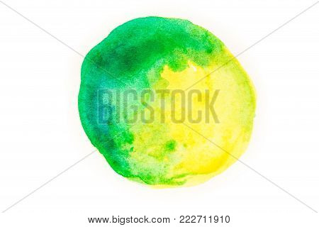 Abstract green-yellow watercolor stain on a white background. Watercolor stains, drawn by hand.