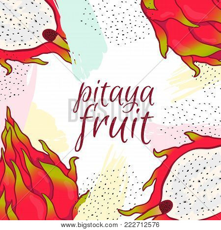 Pitaya Sketch Of Tropical Dragon Fruit. Exotic Pink Pitahaya With Green Leaves On The Top.