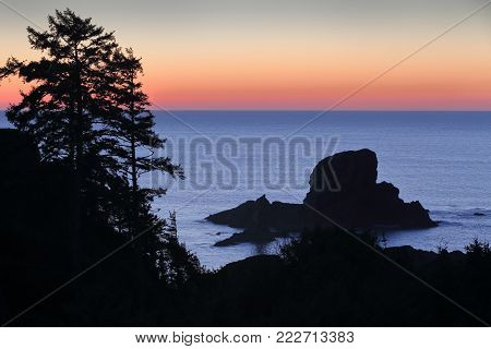 Oregon Coast Sunset. High angle view of the Pacific Ocean at dusk. Oregon, United States.