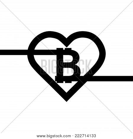 Bitcoin sign icon for internet money. Crypto currency symbol and coin image for using in web projects or mobile applications. Blockchain based secure cryptocurrency. Vector