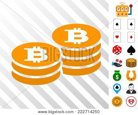 Bitcoin Coin Stacks pictograph with bonus gambling symbols. Vector illustration style is flat iconic symbols. Designed for gambling gui.