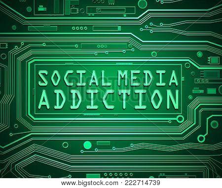 Social Media Addiction Concept.