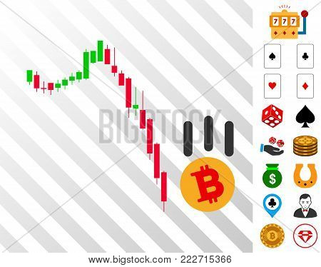 Bitcoin Fall Down pictograph with bonus gambling graphic icons. Vector illustration style is flat iconic symbols. Designed for casino software.
