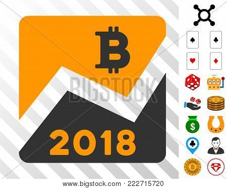 2018 Bitcoin Chart icon with bonus gambling symbols. Vector illustration style is flat iconic symbols. Designed for casino websites.
