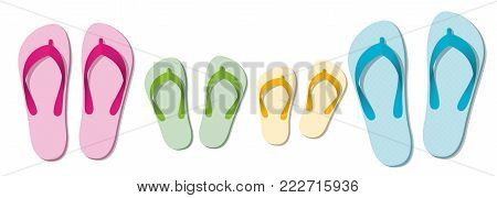 Flip flop family - set of sandals for parents and children - beach holiday fun at summer - isolated vector illustration on white background.