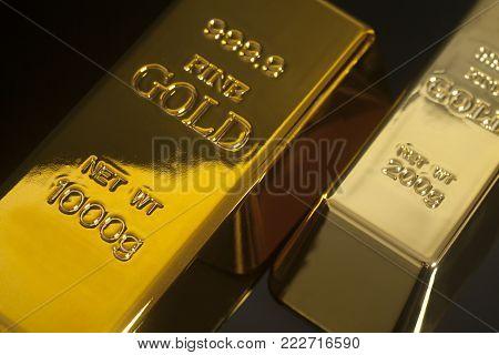 Gold Bullion Isolated On Black Background