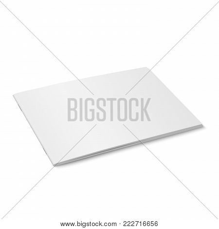 Vector white mock up of magazine isolated. Closed horizontal magazine, brochure, book or notebook template on white background. 3d illustration. Diminishing perspective