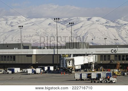 Salt Lake City, Utah, January 27, 2017 : Salt Lake City Airport. Salt Lake Has Developed A Strong Ou