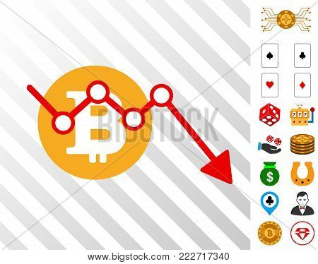 Bitcoin Down Trend pictograph with bonus casino clip art. Vector illustration style is flat iconic symbols. Designed for casino ui.