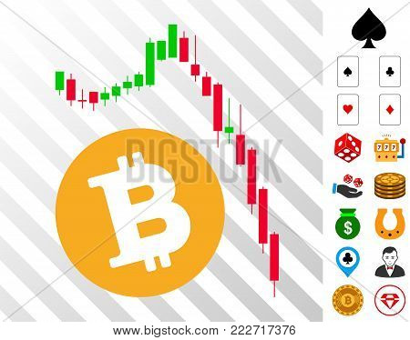 Bitcoin Epic Fail Chart pictograph with bonus gambling graphic icons. Vector illustration style is flat iconic symbols. Designed for casino websites.