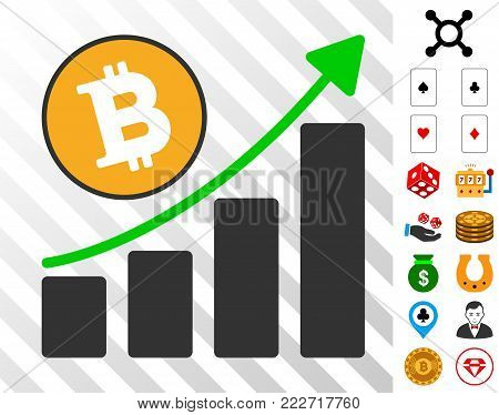 Bitcoin Grow Up Chart icon with bonus gambling pictographs. Vector illustration style is flat iconic symbols. Designed for casino ui.