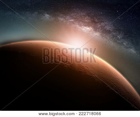 Landscape with Milky way galaxy. Sunrise and Planet view from space with Milky way galaxy. (Elements of this image furnished by NASA)