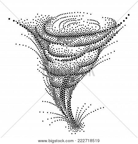 Vector dotted spiral of Tornado or Typhoon or Hurricane in black isolated on white background. Dotted swirl of Whirlwind storm in dotwork style for abstract and atmosphere design.