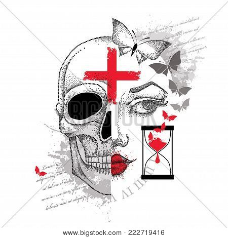Vector illustration of dotted girl face and skull, cross, hourglass and butterflies in red and black isolated. Sketch for tattoo design in Trash Polka and dotwork style. Creative  tattoo concept.