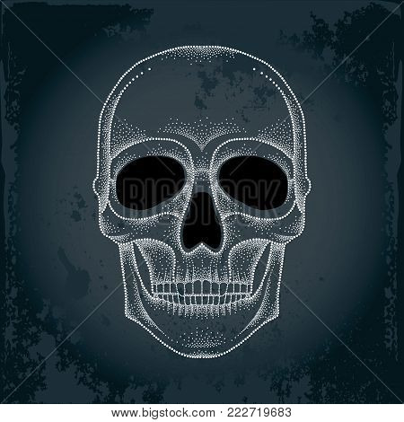 Vector dotted skull in white on the black background. Front view. Element for Halloween design in dotwork style. Creative concept for tattooing and trash decor.