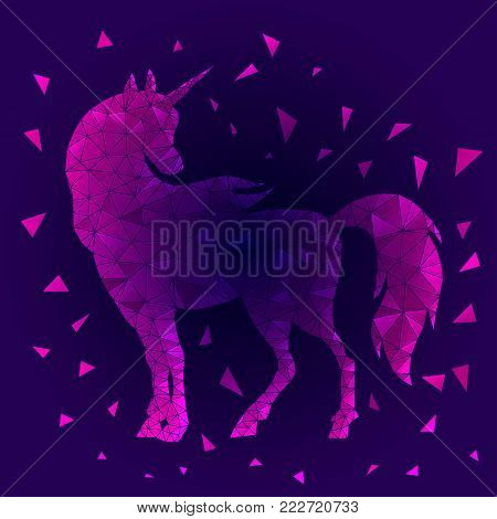 Geometric triangular polygonal illustration of unicorn with gradient. Pink magic horse on blue background. Low poly unicorn silhouette design. Fairy animal. Cute magic fantasy animal.  Dream symbol