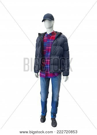 Full length male mannequin dressed in jacket and blue jeans, isolated on white background. No brand names or copyright objects.