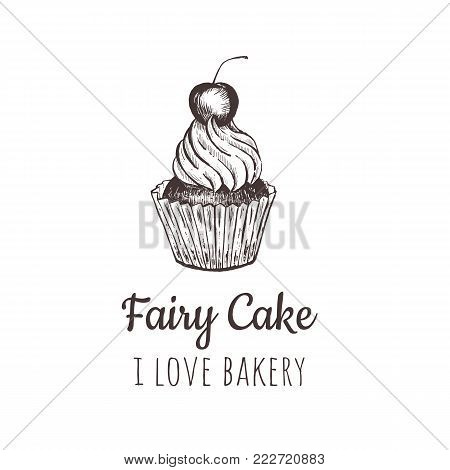Fairy cake, cupcake sketch lettering logo, badge. I love bakery vector illustration. Calligraphy with cookie Illustration for prints, cards, posters, products packaging, branding.