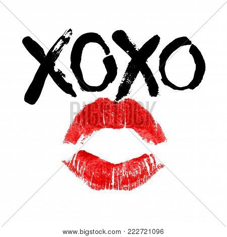 Romantic poster with handdrawn lettering. Modern ink calligraphy. Handwritten black phrase XOXO and red realistic lipstick imprint isolated on white. Trendy vector design for Valentines Day or wedding