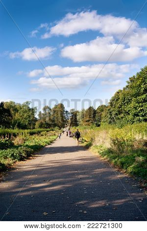 Alley in Kelvingrove Park on a bright sunny day, unrecognisable people at a distance