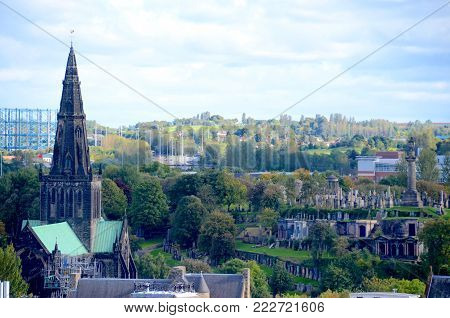 The spire of Glasgow Cathedral and the Necropolis graveyard