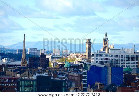 The Glasgow skyline looking towards Glasgow University and the Campsie hills