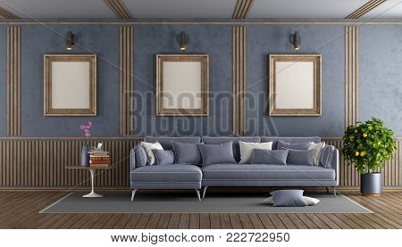 Elegant purple living room with sofa and decorative wooden panel - 3d rendering