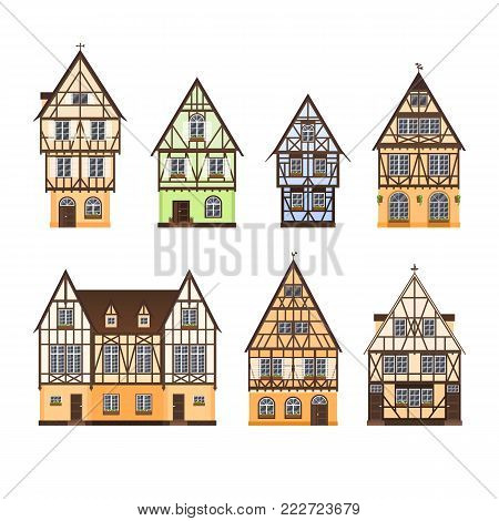Set of isolated colored half timbered buildings on white background. Collection of flat facades of european framing houses, cottages