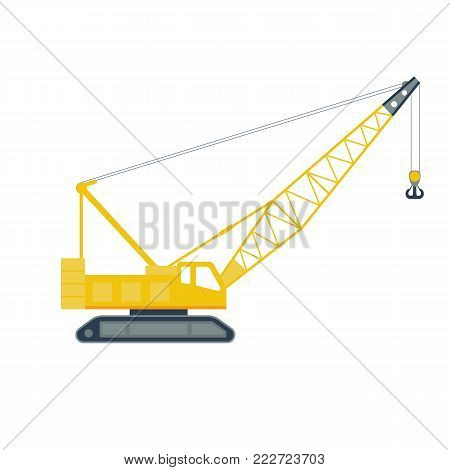 Isolated yellow hoisting crane on white background. Lifting crane.