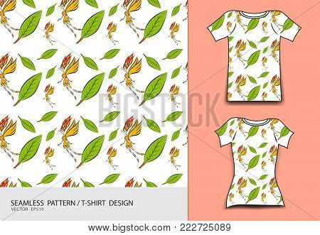 seamless pattern vector illustration, T-shirt design, Cute little fairy cartoon, angel, Comics in fairy tales, fabric texture, fashion wear, clothing, Fantasy Character, butterfly