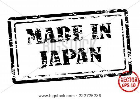 Made in Japan - template of grunged black square stamp for business isolated on white background. Usable as rubber, banner, label, logo, icon or watermark for manufactured products etc.