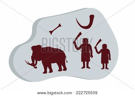 Ancient stone with rock paintings. Cave people hunt for mammoths. Life of cavemen. Stone Age. Ice Age. emplate for presentation, banners, books. Flat vector illustration.
