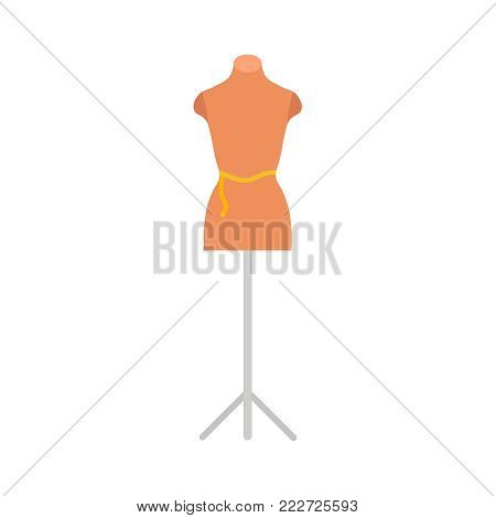 Mannequin with measuring tape on the waist. Dummy on the stand. Needle work. Tools for seamstresses. Needlework element. Tailor instrument. Flat vector illustration.